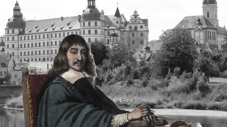 Descartes (hier aus einem Stich von Edmond Mennechet aus dem Jahr 1836) vor der historischen Kulisse Neuburgs – nur eine Schimäre? Die große Jubiläumstagung jedenfalls findet in Neuburg statt.