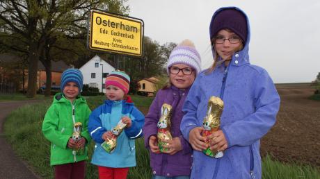 In Osterham wohnt der Osterhase wohl nicht: Luis, Sophie, Magdalena und Emma haben aber mit Schokohasen vorgesorgt.