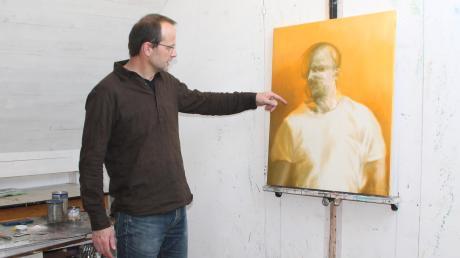 """""""Vielleicht ich"""" (2014): Mit diesem Werk, vielleicht einem Selbstporträt, von Emmeran Achter, wurde in Friedberg für die Kunstausstellung geworben."""