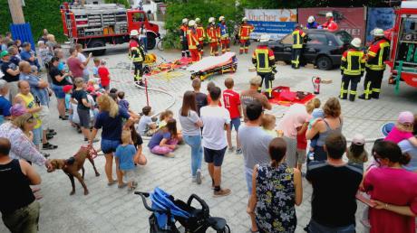 Beim Aktionstag zeigte die Freiwillige Feuerwehr Griesbeckerzell ihr Können, unter anderem bei der Personenrettung aus einem Auto.
