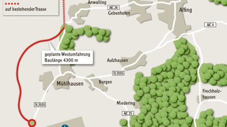 Planung für die beiden Ortsumfahrungen von  Affing.