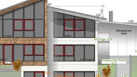 Der Adelzhausener Gemeinderat hat der Planung für eine viergruppige Kindertagesstätte zugestimmt – hier die Süd-Ansicht.