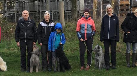 Erfolgreich bei der Prüfung waren : (von links: Ilse Mizera mit Hasenhirsch Gru (FPr1), Tina Wenisch mit Hasenhirsch Ipf (IBGH1), Albin Hamann mit Hasenhirsch Gustl (IGP2), Kristin Oberhauser mit Sil und Hasenhirsch Gretel (IGP1), Annika Busse mit Hasenhirsch Hauke (IBGH1), Prüfungsleiterin Heike Bellemann, Eva Halbach mit Mobbi (IBGH2), Sivia Baumann mit Hasenhirsch Eik (FPr2).