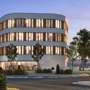So soll das neue Büro- und Geschäftshaus auf dem Milchwerk-Gelände aussehen. Der Entwurf stammt von Architekten Christian Moosbichler aus Augsburg, die Visualisierung von der Firma Lichtecht aus Hamburg.