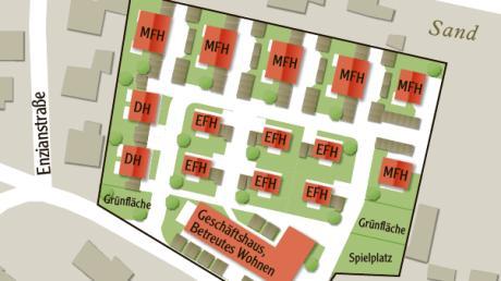 Die Pläne eines Investors für Sand stoßen in Todtenweis nicht auf Begeisterung. Diese Grafik basiert auf den Plänen, die dem Gemeinderat im Dezember 2019 vorlagen.