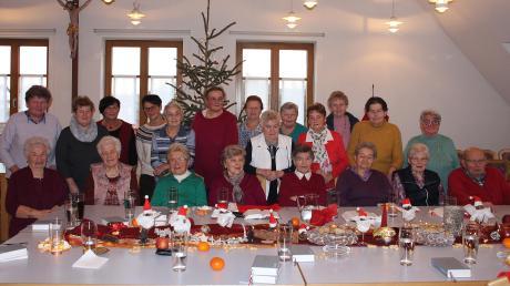Insgesamt fast 30 Jahre waren in Adelzhausen für die Seniorenarbeit Margret Schmaus (stehend, Dritte von links) und Christa Dollinger (stehend, Vierte von links) verantwortlich. Sie übergaben diese Arbeit an Anni Pfaffenzeller (stehend, Zweite von links).