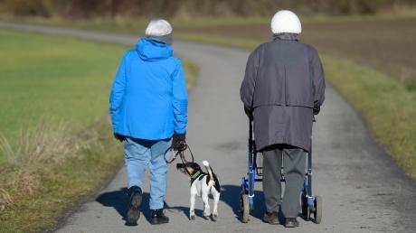 Zwei ältere Frauen spazieren mit Hund und Rollatoreinen Weg entlang. Für Besorgungen und Besuche beim Arzt oder bei Behörden steht für sie ab 1. Januar in Baar ein Fahrdienst bereit.