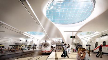 So soll der unterirdische Stuttgarter Tiefbahnhof einmal aussehen. Die Kelchstützen tragen das Dach und lassen Tageslicht auf den Bahnsteig