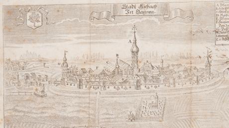 Die Darstellung zeigt eine so genannte Aichacher Handwerkskundschaft, ausgestellt 1804 für den Metzgergesellen Joseph Jaser aus Stätzling.