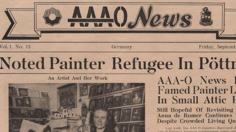 """Von Juni bis Oktober 1945 druckte das 39. Infanterieregiment eine eigene Zeitung in Aichach. Auf dem Zeitungskopf der AAA-O News war links neben dem Namen der Zeitung das """"Octofoil"""" abgebildet, rechts war das Zeichen des 39. Infanterieregiments zu finden. Die Zeitung sollte Soldaten über Neuigkeiten informieren und mit der Region vertraut machen."""