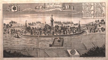 Dieser Kupferstich von Johann Georg Grueber zeigt die Stadt Aichach in der Mitte des 18. Jahrhunderts. Das Erscheinungsbild, das Aichach über Jahrhunderte prägte, wurde bereits im 13. Jahrhundert, der Zeit der Städtegründungen in Bayern, grundgelegt.