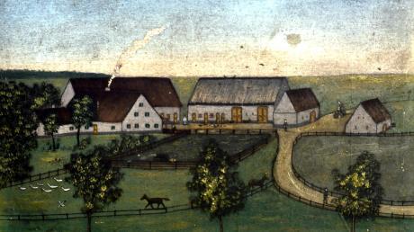 Dieses Gemälde zeigt den alten Hof von Andersbach.