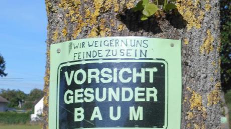 Protest mit Plakaten gegen die Baumfällungen in Alsmoos.