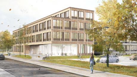 So soll die Erweiterung des Landratsamtes in Aichach mit einem Anbau in Holzhybrid-Bauweise aussehen.