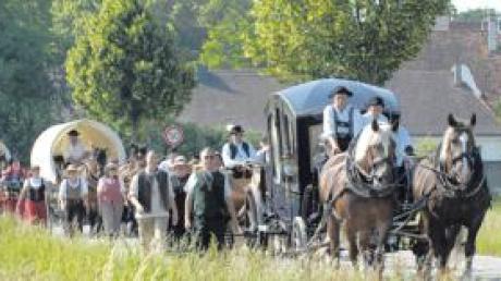 Der historische Kaufmannszug war bereits 2007 auf dem Weg von Augsburg nach Allmannshofen.
