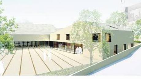 Die Computersimulation zeigt, wie die Mehrzweckhalle in Allmannshofen einmal aussehen soll. Architekt Klaus Kehrbaum erläuterte bei der Bürgerversammlung den aktuellen Stand der Planung.