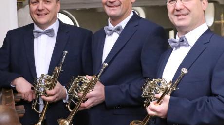 Das Nördlinger Bachtrompeten-Ensemble kommt nach Oberschönenfeld, von links: Rainer Hauf, Paul Lechner und Armin Schneider.
