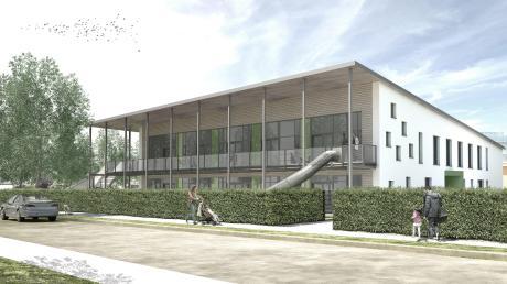 So wird er aussehen, wenn er fertig ist: der neue Kindergarten in Langweid. Das Budget dafür ist im Haushalt für 2019 beschlossen worden.