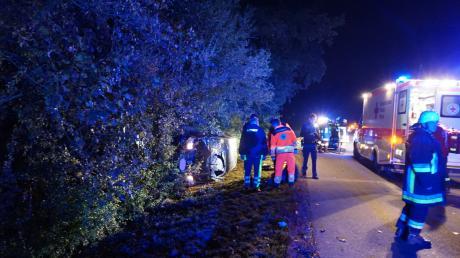 Nachdem Unfall in Zusamzell waren die Feuerwehren Zusamzell und Altenmünster im Einsatz.