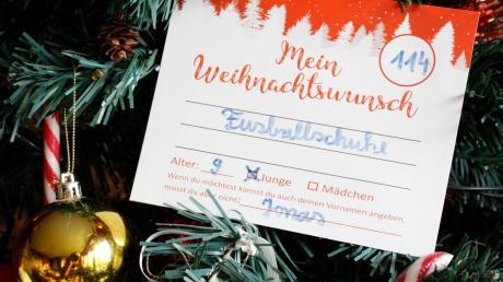 """""""Mein Weihnachtswunsch"""" steht auf den Zetteln am Baum: Dies könnten zum Beispiel Fußballschuhe sein."""