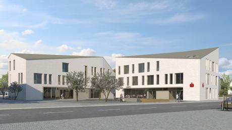 Das neue Fischacher Rathaus (links) und das neue Gebäude der Kreissparkasse sollen ein Ensemble in der Mitte von Fischach bilden. Stilelemente des typisch schwäbischen Hauses werden übernommen, aber nicht alle. Baubeginn könnte Mitte 2020 sein.