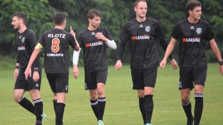 Der SV Cosmos Aystetten befindet sich auf dem besten Weg zurück in die Landesliga: Von links Torjäger Robert Markovic-Mandic, Maximilian Klotz, Niklas Kratzer, Florian Britsch und Fabian Krug, der in 20 Spielen keine Sekunde gefehlt hat.