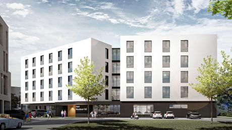 So soll das neue Hotel in der Neusässer Stadtmitte aussehen: Das Gebäude bekommt einen Verbindungsbau. Dies gefiel den Stadträten im Bauausschuss, da es das Gesamtbild auflockert.
