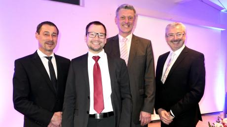 Fakten mit Esprit präsentierten beim Biberbacher Neujahrsempfang drei Bürgermeister und ein Historiker: (von links) Klaus Gerstmayr, Felix Guffler, Wolfgang Jarasch und Wolfgang Bertele.