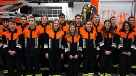 Die jungen Teilnehmer der Freiwilligen Feuerwehr Langweid freuen sich über die erfolgreiche Prüfung auf dem Weg zum Truppführer