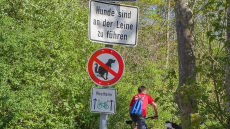 Das rot-weiße Schild auf diesem Weg in Neusäß ist nicht falsch zu verstehen: Hunde sollen hier nicht ihre Notdurft verrichten.