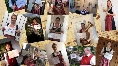 """Die einzelnen Worte des Satzes """"Wir Musikanten, vereint durch Spiel und Gesang, sind verbunden – trotz Corona – ein Leben lang!"""" sollen die Musiker innerhalb von 48 Stunden auf Fotos darstellen. So entstand die Collage."""