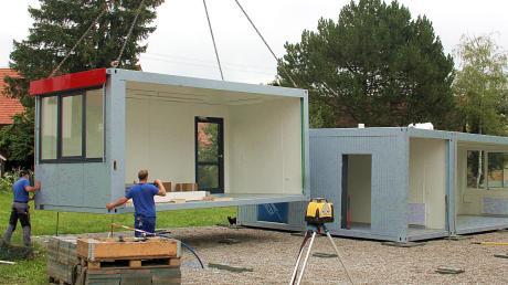 Mit mehreren Containermodulen wurde im Sommer 2019 in Erlingen Platz für eine zusätzliche Kindergartengruppe geschaffen. Der Bedarf an Betreuungsplätzen in Meitingen und in den Ortsteilen wächst weiterhin.