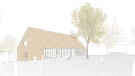 Dieses Konzept hat den Architekturwettbewerb in Bonstetten gewonnen. Der Architekt entwirft ein großes Gebäude aus Holz und Glas.