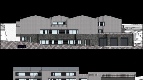 Ansichten der neuen Grundschule und des Feuerwehrhauses.