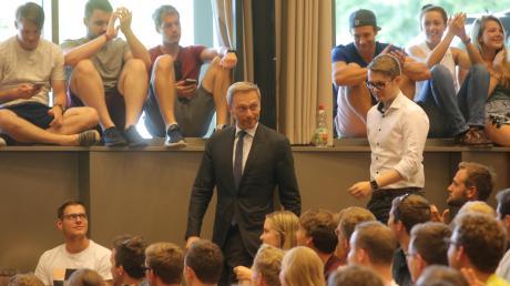 FDP-Chef Christian Lindner sprach am Freitagnachmittag an der Universität Augsburg.