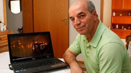 Fernando Almeida informiert sich auch im Internet über die Waldbrände in seiner portugiesischen Heimat. Hier hat er ein Video aufgerufen, das die verheerende Situation zeigt.