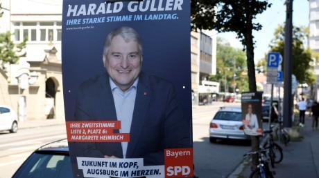 Die SPD hat als erste Partei mit der Plakatierung zur Landtagswahl begonnen. Hier in der Hermannstraße.
