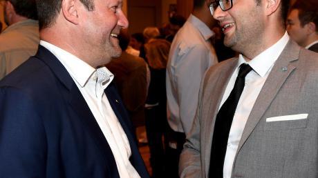 Am Abend der Landtagswahl: Die AfD-Vertreter Markus Bayerbach (links) und Andreas Jurca.