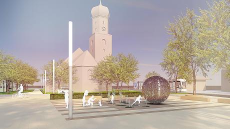 So stellt sich Landschaftsarchitekt Reinhard Baldauf den Platz bei St. Michael vor.