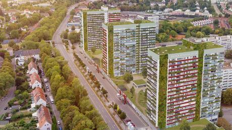 So stellt sich die Architektin Sabine Pfister ein begrüntes Schwabencenter vor. Der Vorteil: Durch die Pflanzen wird es im Sommer kühler, im Winter wärmer in den Wohnungen.