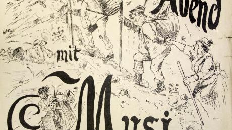 Auf einem Einladungsplakat für einen Herrenabend fungiert eine Frau als Bremserin beim Aufstieg.