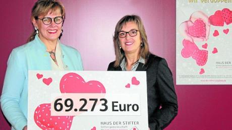 Cornelia Kollmer (links) und Susanne Stippler freuen sich über das Ergebnis der Weihnachtsspendenaktion.