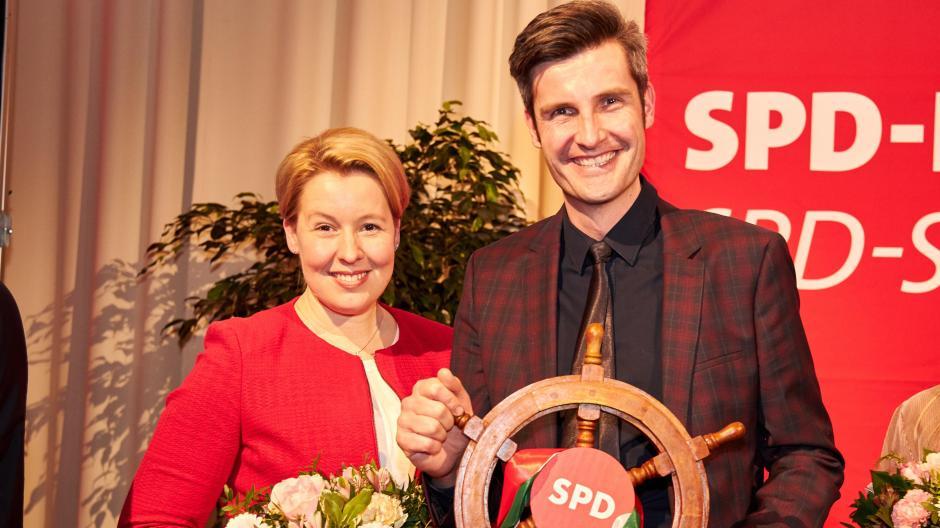 Bundesfamilienministerin Franziska Giffey erklärte auf dem Neujahrsempfang der Augsburger SPD, warum OB-Kandidat ihrer Meinung nach der richtige Mann für Augsburg ist.