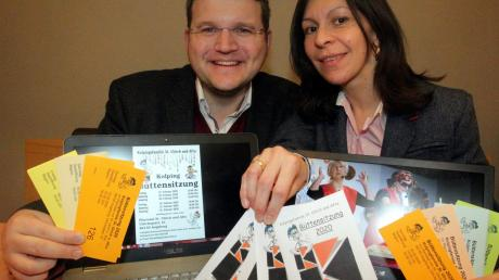 Wichtige Helfer, auch wenn sie nicht im Rampenlicht stehen: Seit zehn Jahren stemmen Moritz und Katja Ernicke den Kartenvorverkauf für die Büttensitzungen der Kolpingsfamilie St. Ulrich und Afra.
