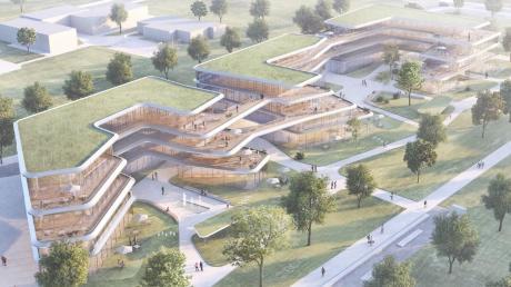 So sieht der Entwurf des neuen geplanten Bürogebäudes im Augsburger Sheridanpark  aus.
