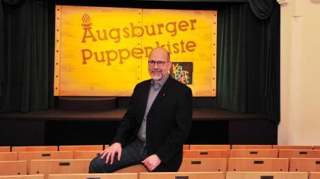Christian Pettinger in der Augsburger Puppenkiste. Der OB-Kandidat der ÖDP setzt sich für eine klimafreundliche Politik ein.