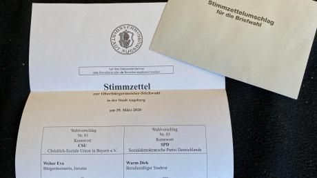 Am kommenden Sonntag ist Kommunal-Stichwahl in Bayern. So sieht der Stimmzettel für die OB-Stichwahl in Augsburg aus.