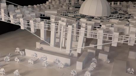 """So sieht das Modell der """"fliegenden Stadt"""" aus, das mit dem Schinkel-Preis ausgezeichnet wurde."""