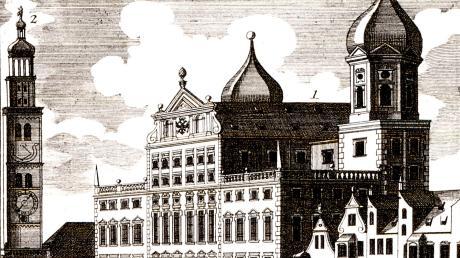 Das vor 400 Jahren eingeweihte Rathaus wurde nach seiner Fertigstellung sofort auf Stichen abgebildet.