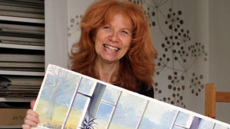 Künstlerin Anita Ulrich hat Haunstetter Ansichten gemalt.  Auf dem Bild sieht man das Hallenbad.